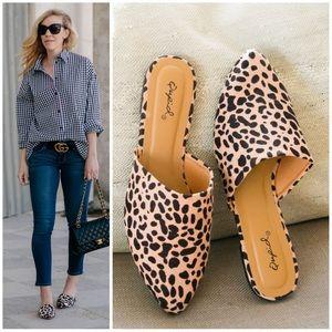 🐆🐆 Tan Leopard Mule Slide Flats
